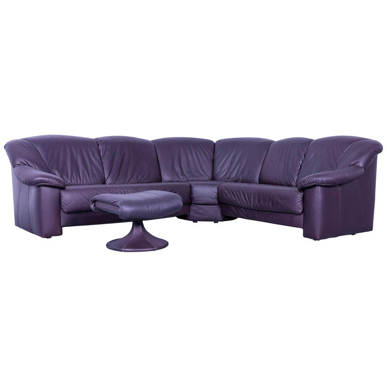 Musterring Designer Purple Leather Corner Sofa Set And Foot Rest For