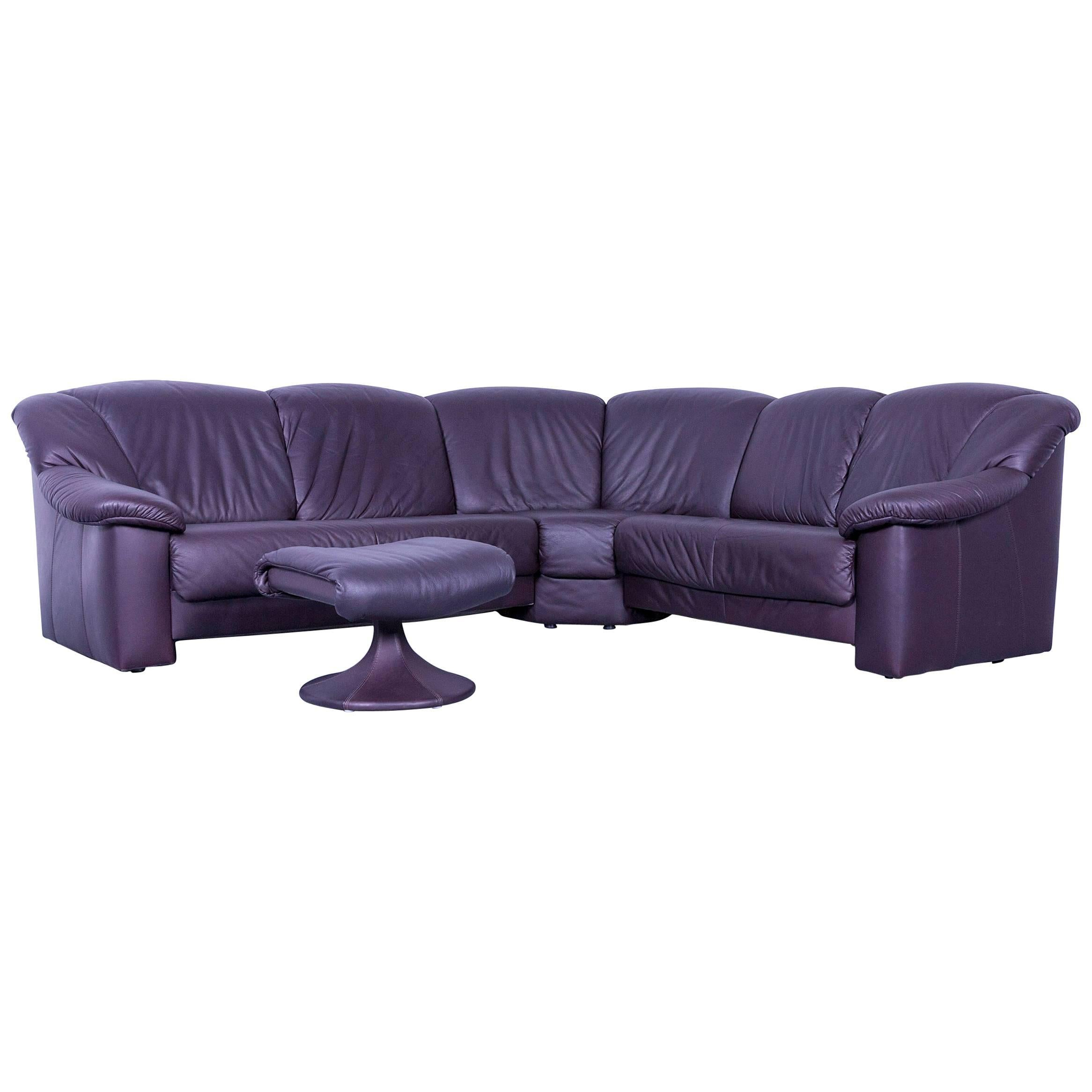 Musterring Designer Purple Leather Corner Sofa Set And Foot Rest