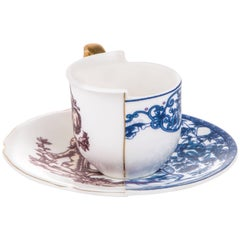"Seletti ""Hybrid-Eufemia"" Coffee Cup with Saucer in Porcelain"
