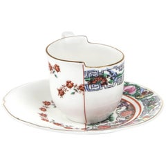 "Seletti ""Hybrid-Tamara"" Coffee Cup with Saucer in Porcelain"