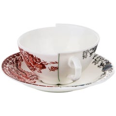 "Seletti ""Hybrid-Zora"" Teacup with Saucer in Porcelain"