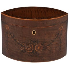 George III 18th Century Period Harewood Inlaid 'Navette' Shaped Tea Caddy