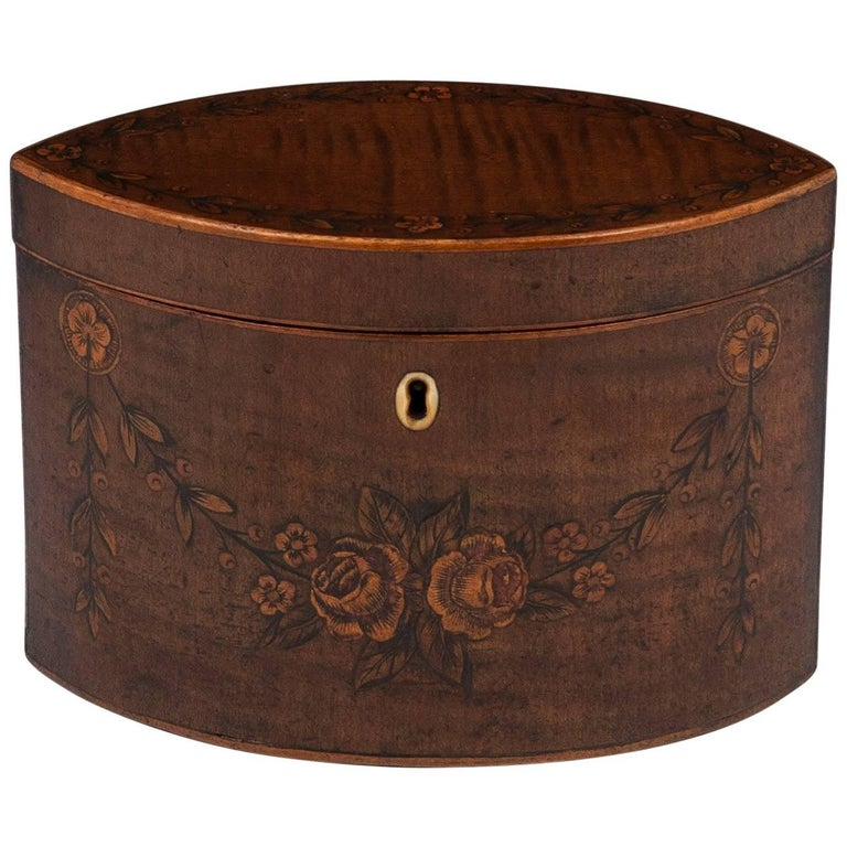 George III 18th Century Period Harewood Inlaid 'Navette' Shaped Tea Caddy