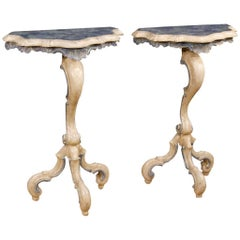 Pair of Venetian Console Tables in Lacquered and Painted Wood from 20th Century