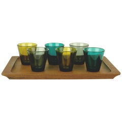 Set of Six Colored Liquor Glasses by Kaj Franck for Nuutarjavi Finland
