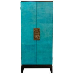 Parchment and Macassar Tall Cabinet, France, 1960s