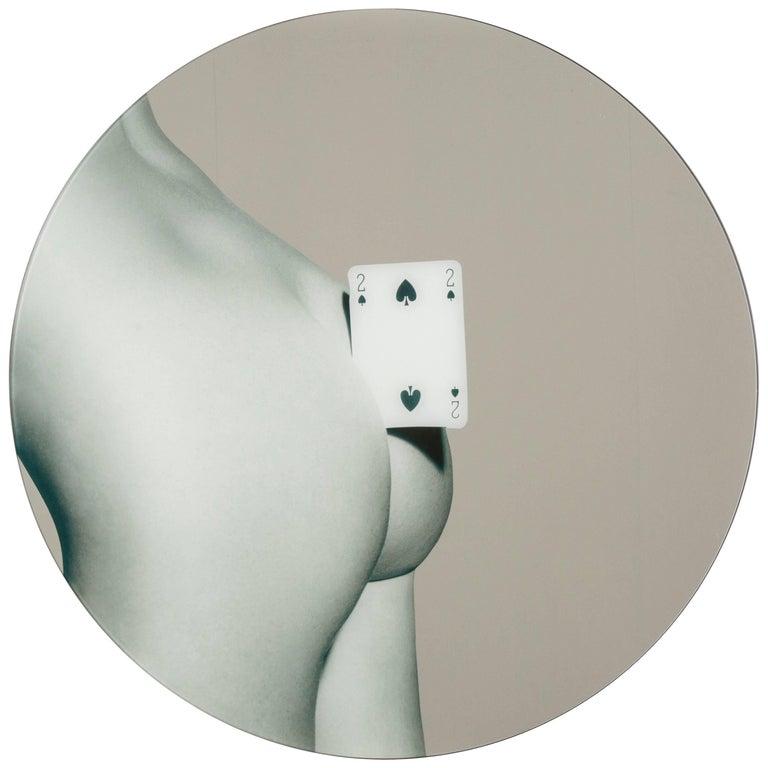 """Seletti Round Mirror """"Toiletpaper"""", Two of Spades"""