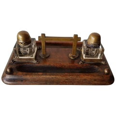 Late 19th Century Inkwell or Inkstand with Wood, Brass and Glass