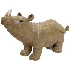 Rhinoceros, Glazed Stoneware Sculpture, French Artist