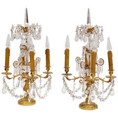 Pair of Louis XVI Style Gilded Bronze Girandoles, circa 1950