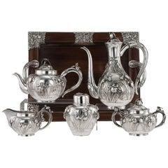 Antique Japanese Solid Silver Tea and Coffee Service, Arthur & Bond, circa 1900