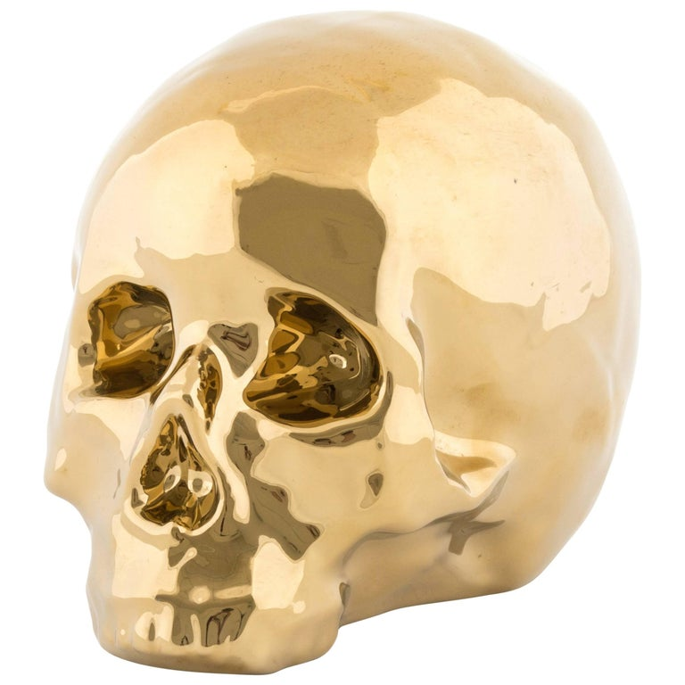"""Seletti Limited Gold Edition """"My Skull"""" in Porcelain For Sale"""