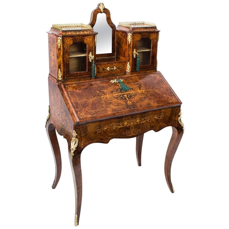 Antique Victorian Burr Walnut Inlaid Bonheur Du Jour, 19th Century