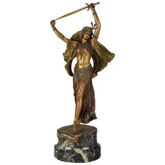 Austrian Bronze Figure 'Sword Dancer' by Franz Bergman