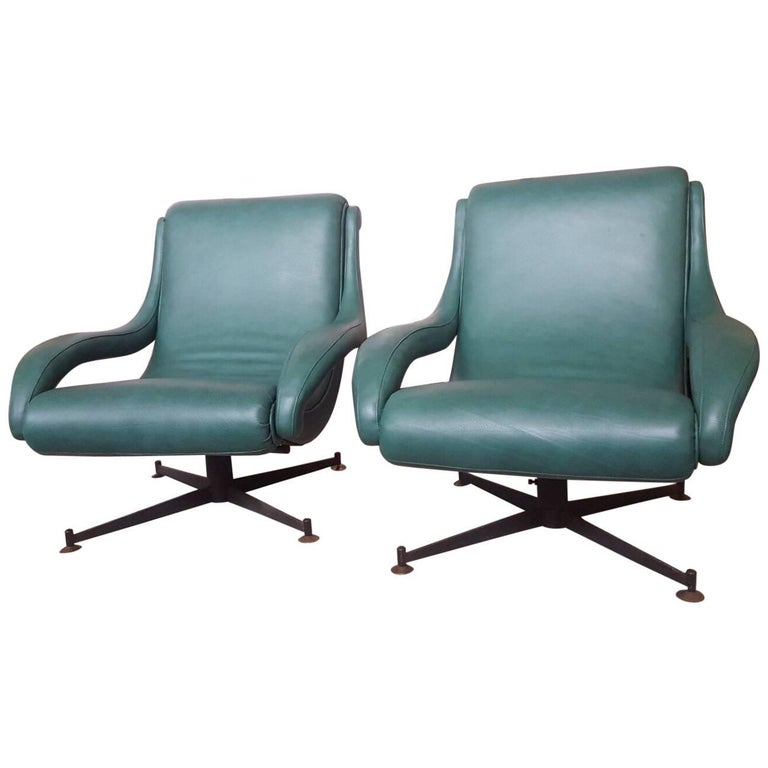 Pair of Leather Armchairs, Italy, circa 1950