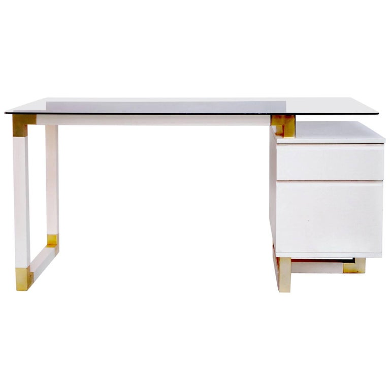 Desk with a Box of Drawers in White Lacquer, Pierre Cardin Style, circa 1970