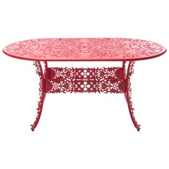 "Aluminum Oval Table ""Industry Collection"" by Seletti, Red"