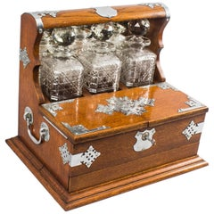 Antique English Victorian Oak Three Crystal Decanter Tantalus, 19th Century