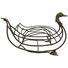 1960s Italian Maison Jansen Brass Duck Magazine Rack