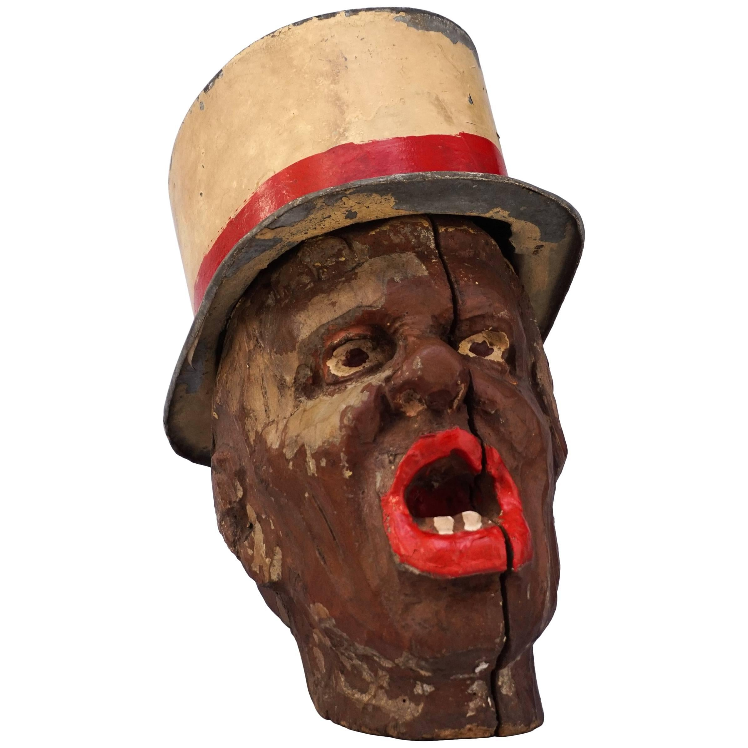 19th Century Carnival Folk Art Carved Wooden Head with Zinc Hat