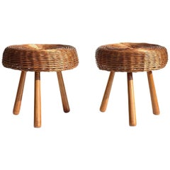 1950s by Tony Paul American Design Midcentury Pair of Wicker Rattan Stools