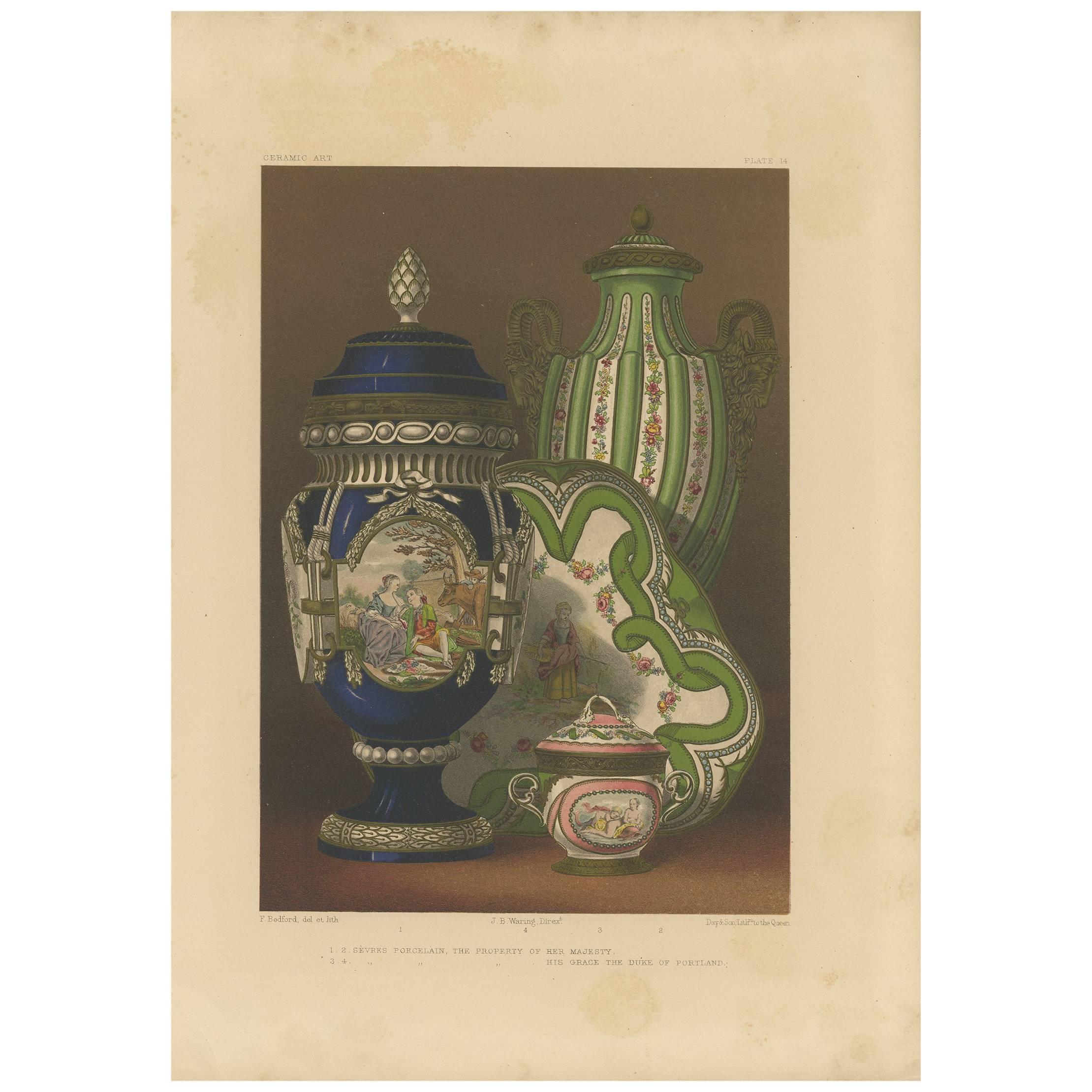Pl. 14 Antique Print of Sèvres Porcelain by Bedford, circa 1857