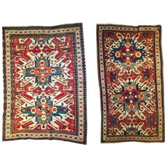 Set of two Eagle Kazak Rugs, Late 19th Century with red blue and beige tones