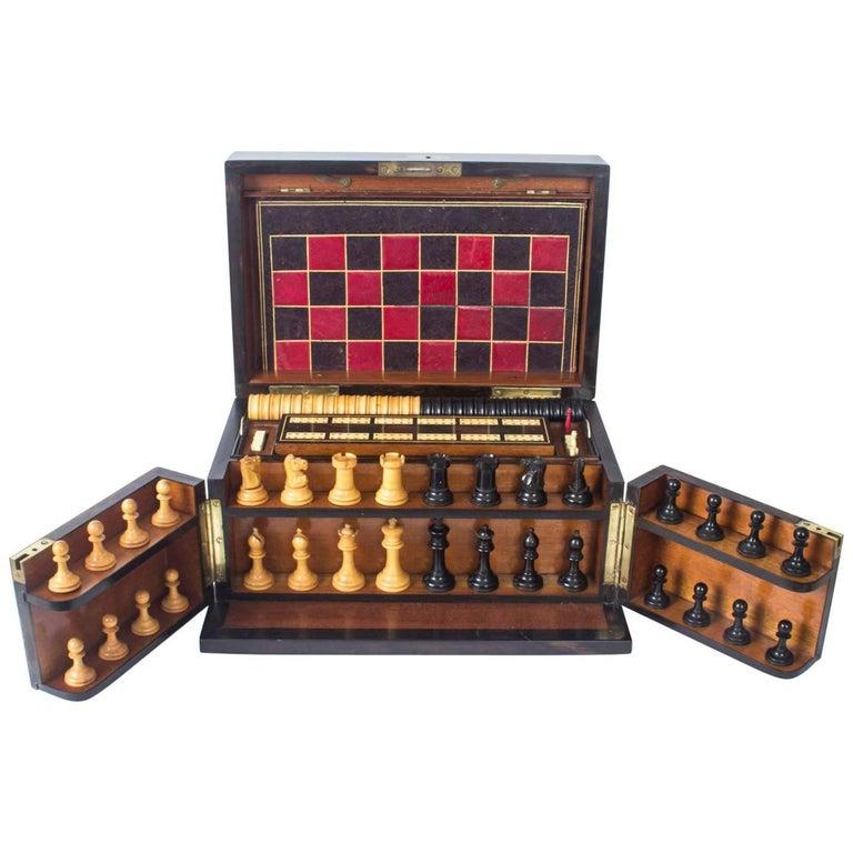 19th Century Victorian Coromandel Games Compendium Chess Drafts For Sale