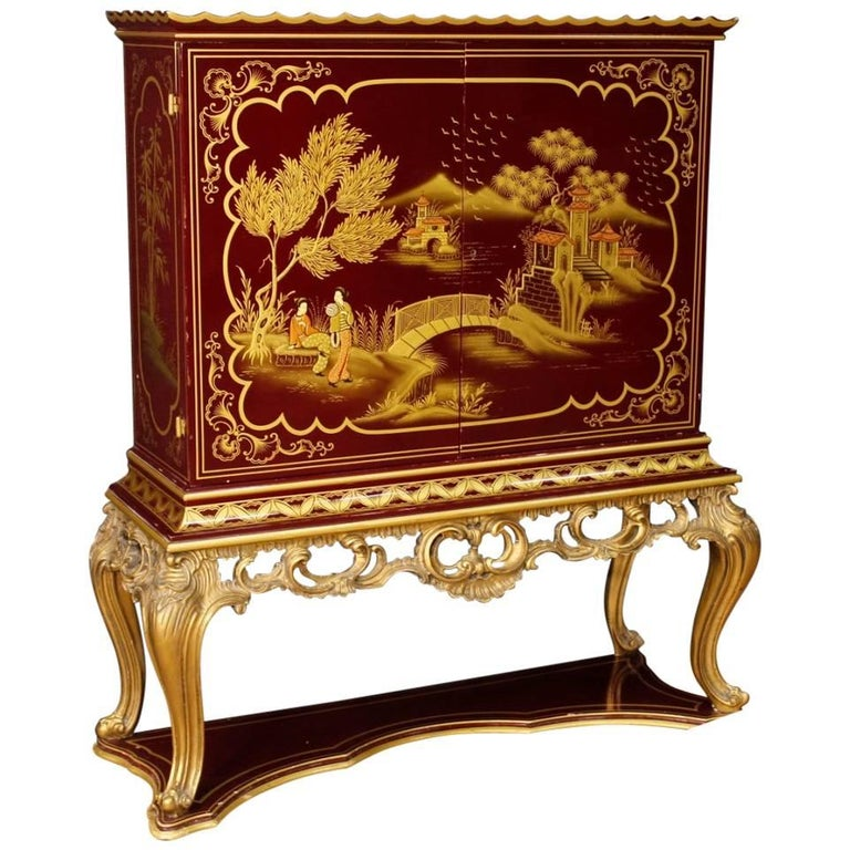 French Wet Bar in Lacquered and Gilt Chinoiserie Wood from 20th Century