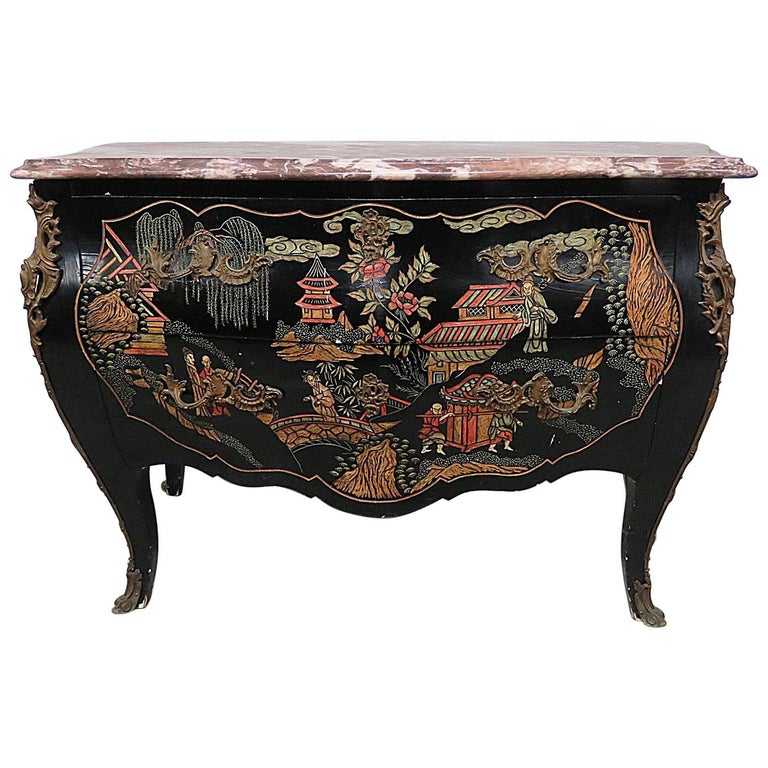 Chinoiserie Marble-Top Commode