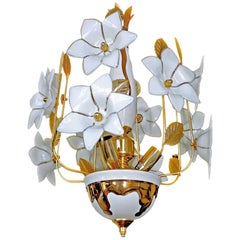 Vintage Midcentury Italian Murano Flower Sputnik Art Glass Gilt Brass Chandelier