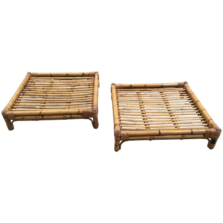 Pair of Italian Bamboo Coffee Tables from 1970s