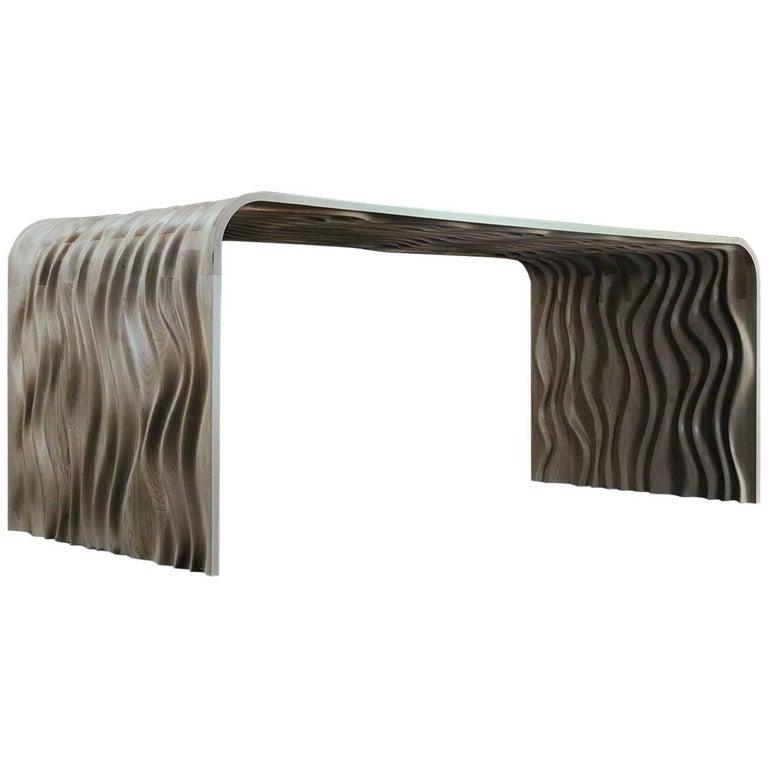 'Ripple' Modern Solid Walnut Table by Object Studio