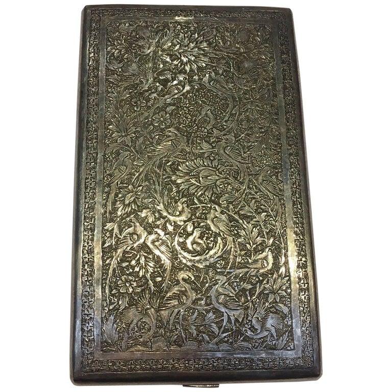 20th Century, a Large Silver Qajari Cigarette Case