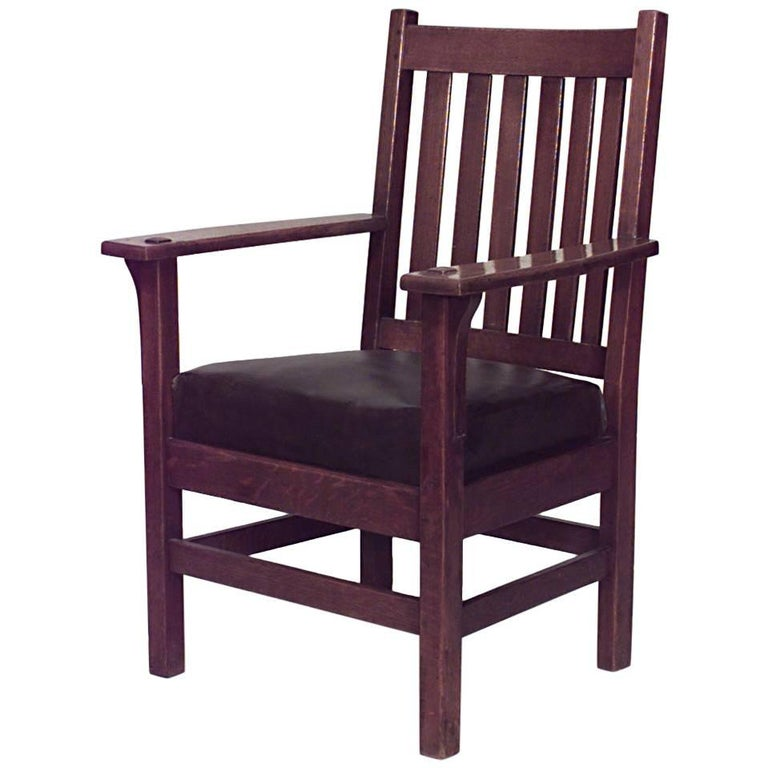 American Mission Oak Armchair with Six Slats on Back and Brown Leather Seat