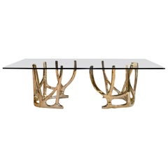 Contemporary Sculptural Center or Dining Bronze Table