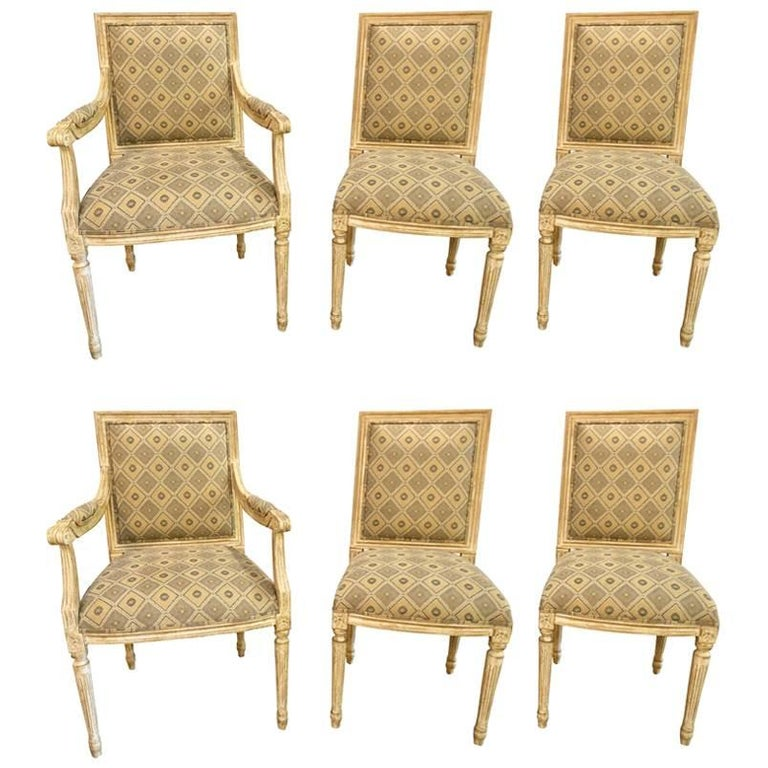 Set of Six Jansen Louis XVI Style Dining Chairs Parcel-Gilt and Paint Decorated