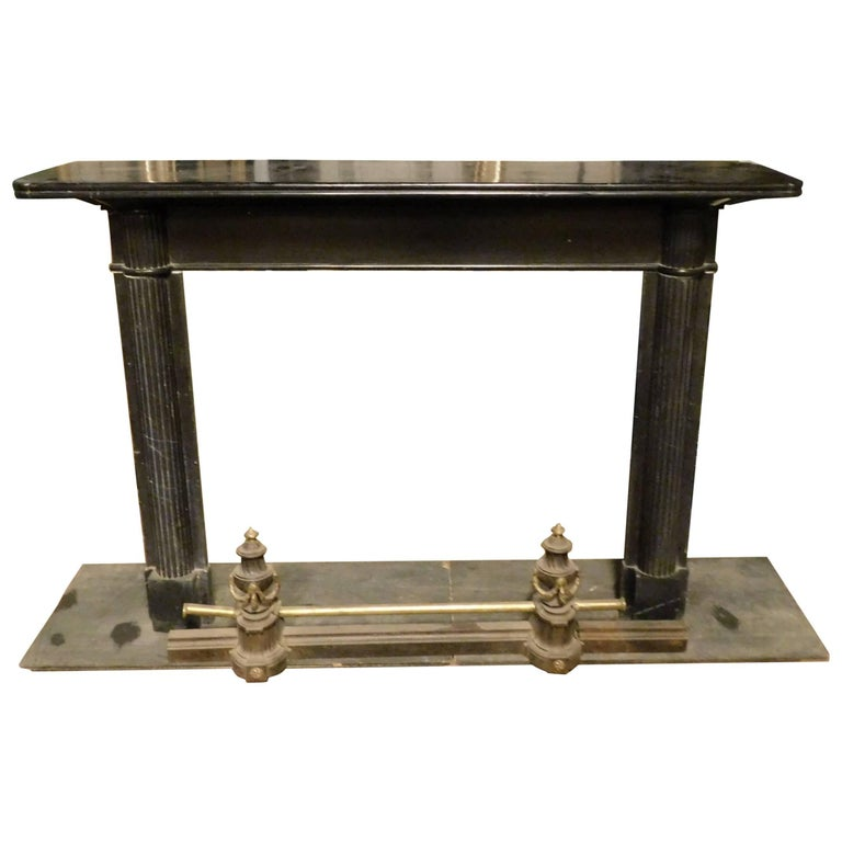 19th Century Antique Nero Belgio Fireplace Mantel For Sale