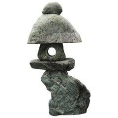 "Japanese Green ""Shikoku"" Stone Spirit Lantern, One of a Kind Masterwork"