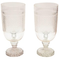 Pair of Crystal Diamond Cut Hurricane Votives