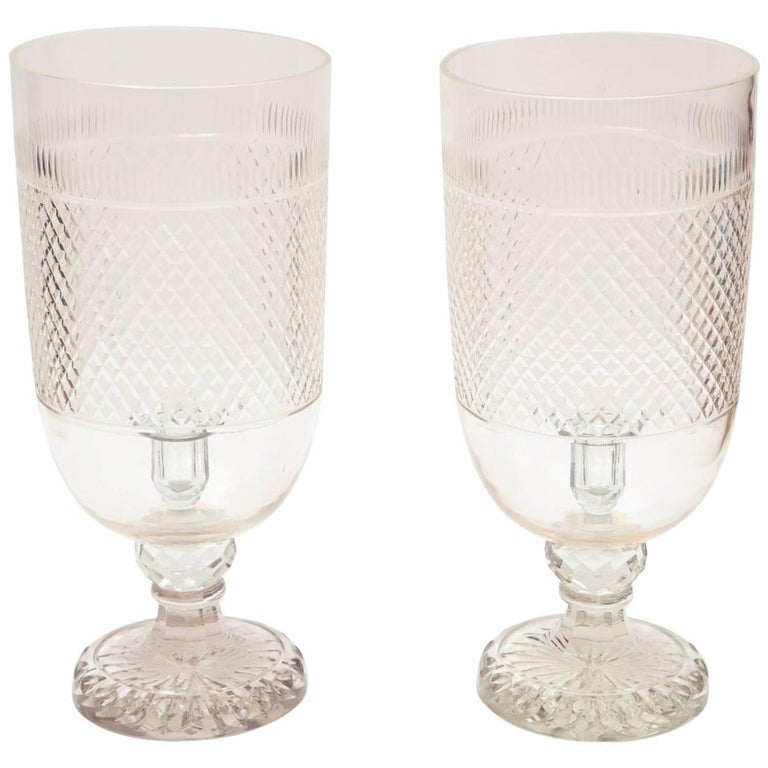 Pair of diamond-cut-crystal hurricane votives, 1980, offered by David Duncan Antiques
