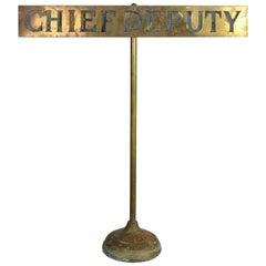 "Brass ""Chief Deputy"" Police Desk Sign"