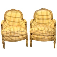Pair of Maison Jansen Louis XVI Style Bergere Chairs in Burberry Fashion Fabric
