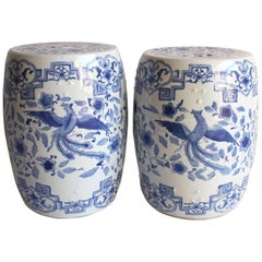 Pair of Chinese Blue and White Garden Stools