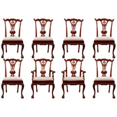 Set of Eight Georgian Style Carved Mahogany Dining Chairs