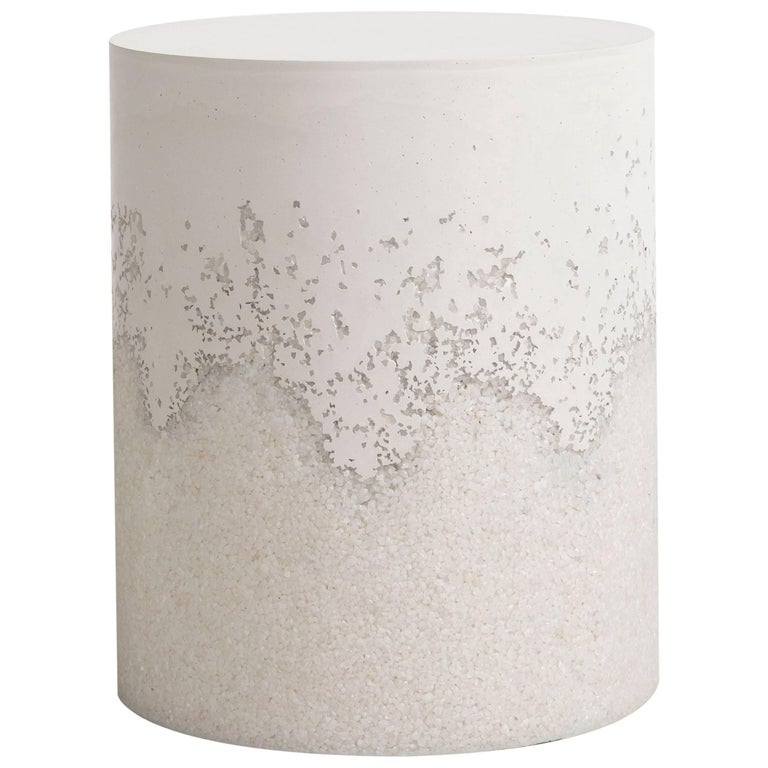 Drum, White Cement and Crystal Quartz by Fernando Mastrangelo For Sale