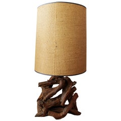Mid-Century Modern Free-Form Driftwood Table Lamp