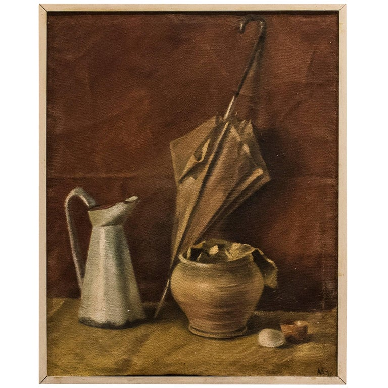 Antonio Matallana 1950's Spanish Signed Oil on Canvas STILL LIFE