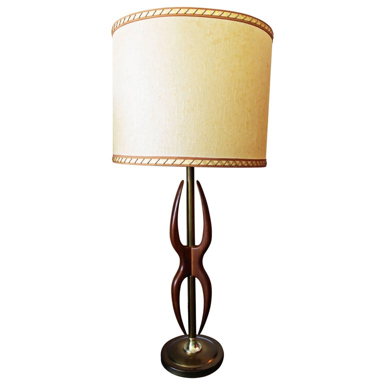Mid-Century Modern Amorphous Walnut and Brass Table Lamp