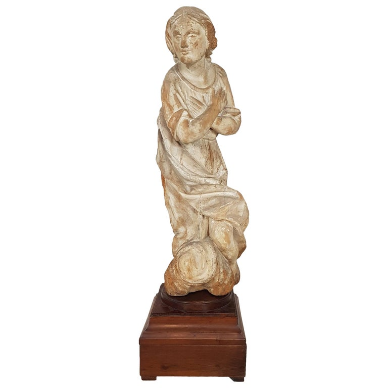 17th Century Carved Wood Madonna Sculpture